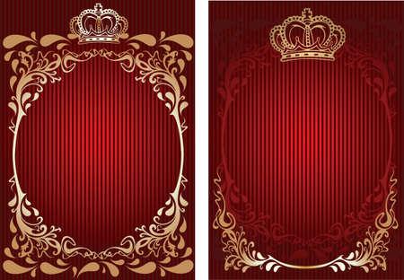 rust red: Rojo y oro con adornos de real banner.