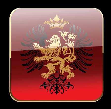 lion wings: Black resplandor rojo her�ldica decorativa con adornos de banner. Vectores