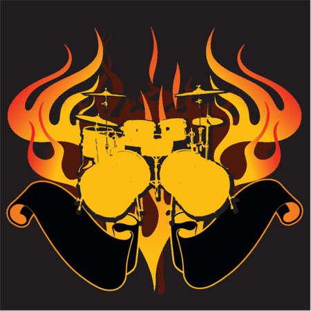 Fire Drums Graffiti Banner. Stock Vector - 1280229