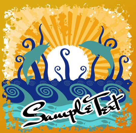 Ocean Beach Sun Abstract Stock Vector - 2222791