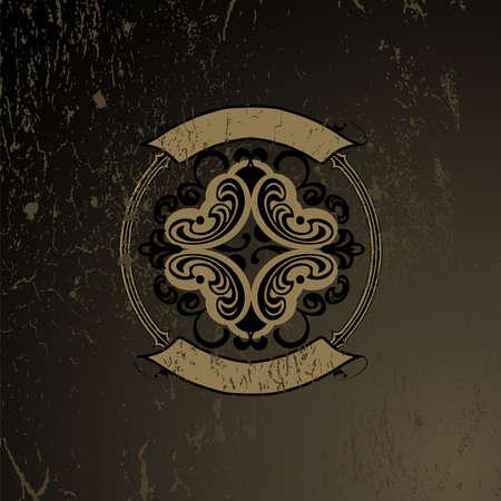 Grunge Old Wood Ornate Quad  イラスト・ベクター素材