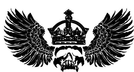 Crowned Skull on Wings Stock Vector - 3250176