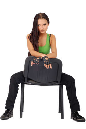sitting on a chair sporting beautiful girl. Stock Photo - 3324471