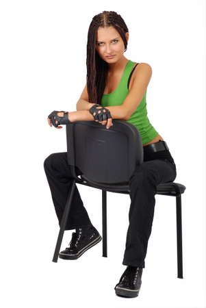 sitting on a chair sporting beautiful girl. Stock Photo - 3324473