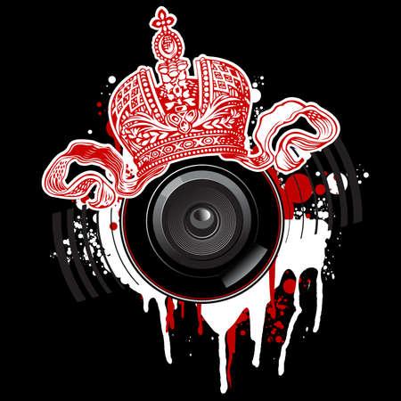 落書き赤い王冠とスピーカー  イラスト・ベクター素材