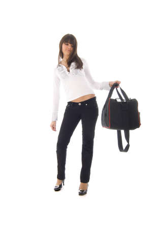 youngs: Fashion Girl with Sport Bag Stock Photo