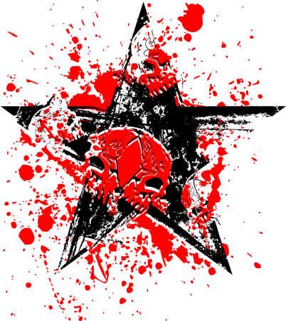 Red Black Skull Star Vector Illustration