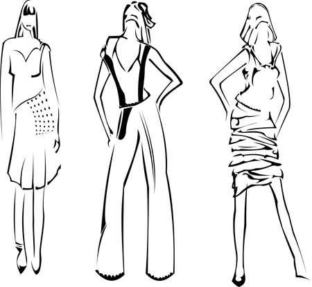 ファッションの女の子のデザイナーのスケッチ