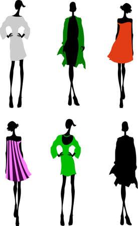 Diseñador de moda Chicas Silueta Sketch