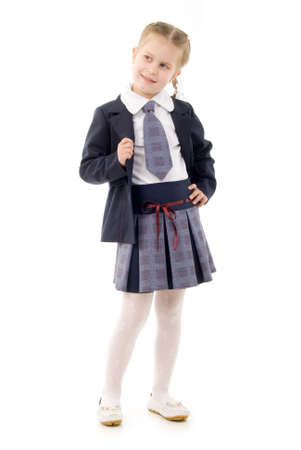uniform skirt: Little Schoolgirl Stock Photo