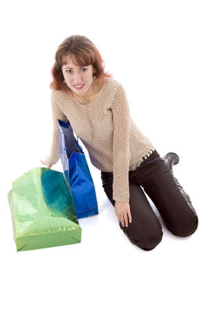 Girl With Two Shopping Bags photo