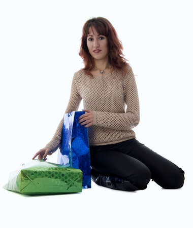 Sitting Girl With Two Bags photo
