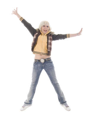 Jumping Jeans Blonde Girl photo