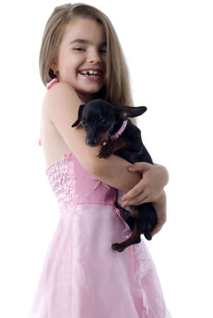 Little Girl And Her Dog. Isolated On White Background. Stock Photo - 5266034