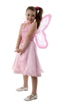 Pink Butterfly Little Girl. Isolated On White Background. photo