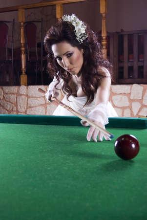 Cute Bide Playing Billiard photo