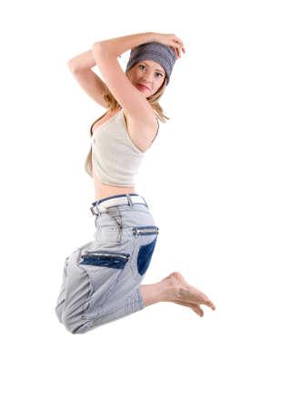 modern style dancer girl. Isolated On White Background.  photo