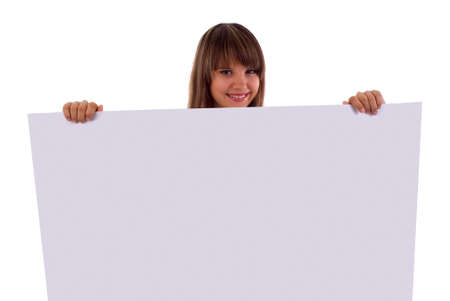 Smiling Girl Holding A White Presentation Board. Isolated On White Background. Stock Photo - 5512505