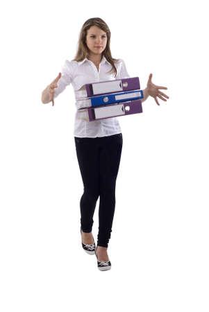 Jóvenes con documentos de Office Girl Motion Blur. Aislado en el fondo blanco. Foto de archivo - 5772766