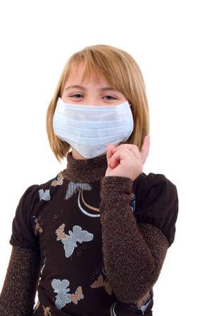 Child Girl In Medicine Mask. Isolated On White Background. Stock Photo - 5830639