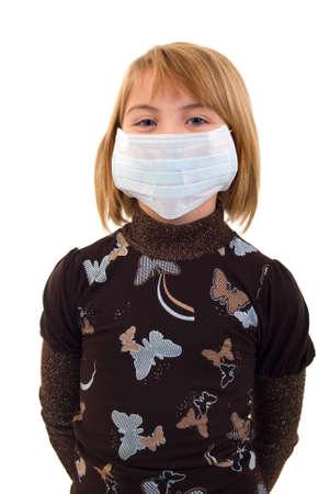 Child Girl In Medicine Mask. Isolated On White Background. Stock Photo - 5830642