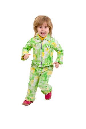 Running Child. Isolated On White Background. Stock Photo - 5853508