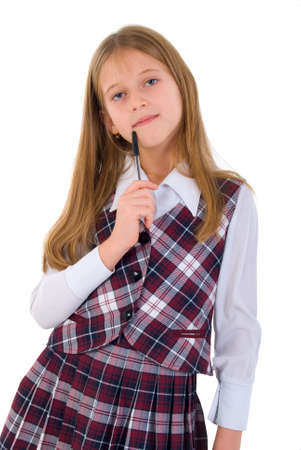 children studying: Thinking Girl with A Pen. Studio Shoot Over White Background. Stock Photo