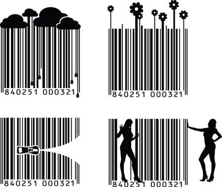 Quatre variations de codes à barres de noir et blanc