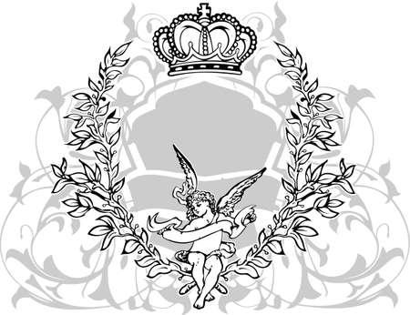 Noir, gris et blanc couronnée Cupidon. Illustration vectorielle.