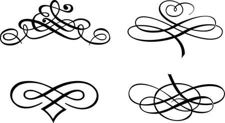 Four Baroque Curves. Vector Illustration. Stock Vector - 6169429