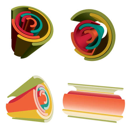 Sets Of 3D Abstract Futuristic Vibrant Color Rainbow. Stock Vector - 6601481