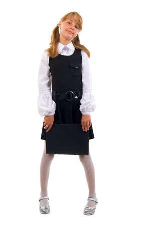 school uniform girl: Cute Teen Schoolgirl Portrait. Studio Shoot Over White Background. Stock Photo