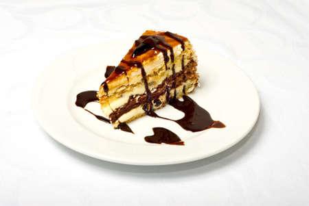 Nice Tasty Chokolate Cake On White Plate photo