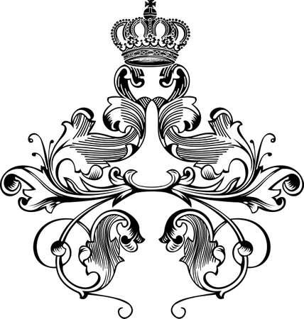 One Color Retro Elegant Royal Crown Curves Stock Vector - 8336532