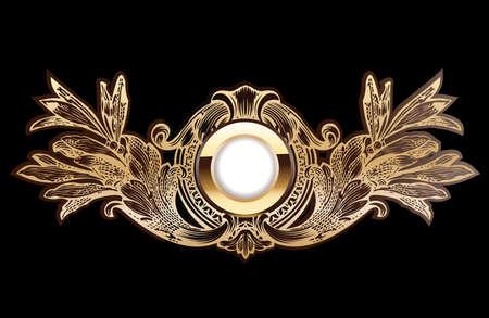 High Ornate Gold Ring On Black Background.