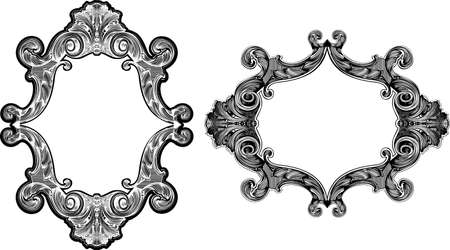 Two Black And White Baroque Art Frames Vectores