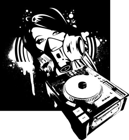 Black And Whiyte Girl DJ In Gas Mask