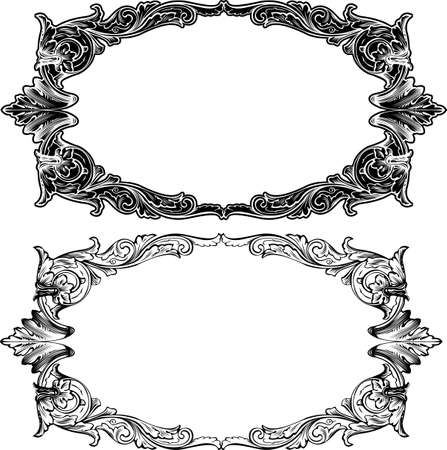 Two Antique Frame Engraving, Scalable And Editable Illustration Vector