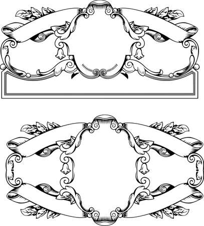 twirls: Antique Frames And Banners  Engraving, Scalable And Editable Illustration Illustration