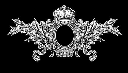 Antique Crown Royal Frame Engraving, Scalable And Editable Illustration Vector