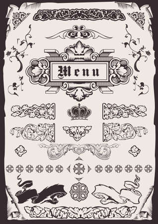 Design Ornate Old Elements And Page Decoration.