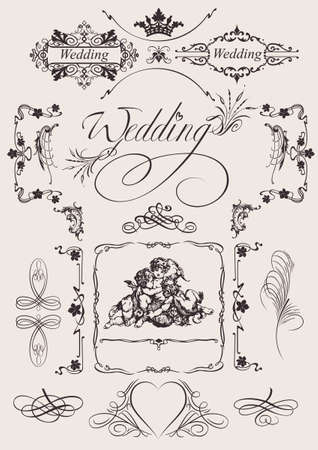 Design Ornate Elements And Wedding Page Decoration. Vectores