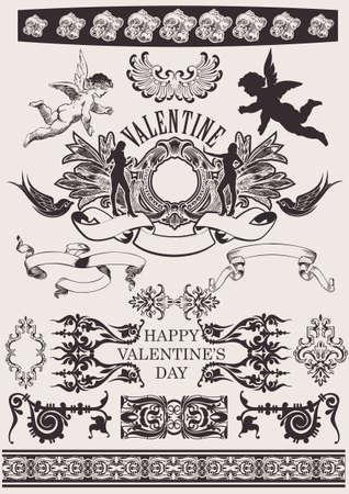 victorian valentine: Vector set. Valentines Design Elements. Elements For Page Decoration