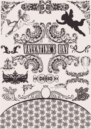 Vector set. Valentine's Design Elements. Elements For Page Decoration Stock Vector - 8878251