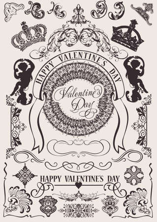 vintage scroll: Vector set. Valentines Design Elements. Elements For Page Decoration