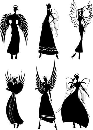 Set Of Silhouette Beautiful Fairy Flying Angels Stock Vector - 8878211