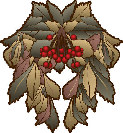 glans: Autumn Leaves And Red Berries Symmetry Composition
