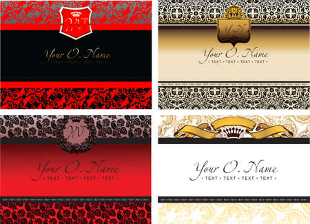 Set Of Four Color Small Title Frame And Pattern Vector