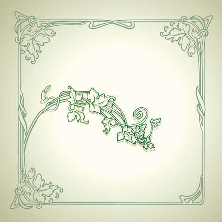Vintage Floral Decorate Green Frame Vector
