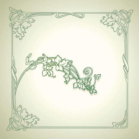 Vintage Floral Decorate Green Frame Vector